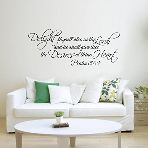 Marydecals wall stickers quotes Delight Thyself Also In The Lord lord and he shall give thee the desires of thine heart Psalm 37:4 ()