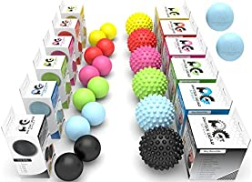 Physix Gear Massage Balls - Spiky or Lacrosse Ball Roller Set for Plantar Fasciitis, Trigger Points Neck & Back Pain...