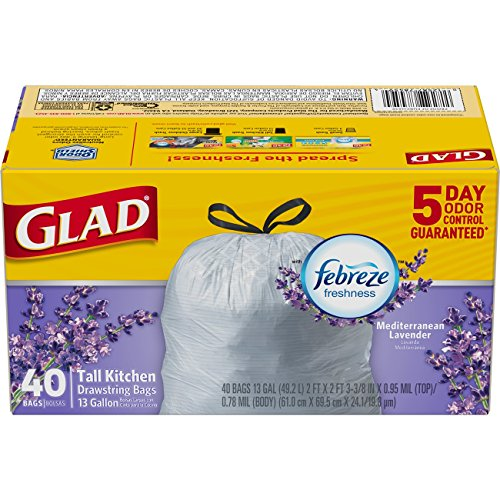 Glad OdorShield Tall Kitchen Drawstring Trash Bags - Febreze Mediterranean Lavender, 13 Gallon, 40 Count (Packaging May Vary)