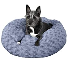 Furhaven Pet Donut Bed | Deep Dish Curly Fur Donut Pet Bed for Dogs & Cats, Fresh Blueberry, Small