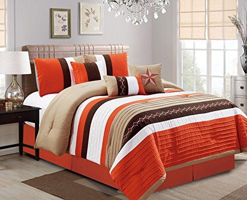 Luxlen 7 Piece Bed in bag Comforter Set, Oversized, Queen, Orange (Comforters Bed Sets Cheap)