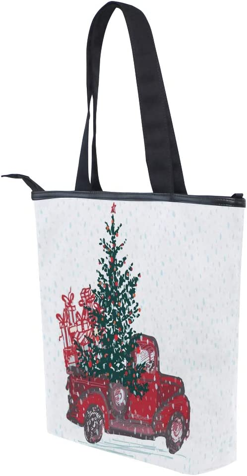 Christmas Red Truck Women Canvas Tote Bag Winter New Year Xmas Tree Girls Reusable Grocery Bags Shopping Handbag Casual Shoulder Bags Storage Organizer for Gym Hiking Picnic Travel School Daily Use