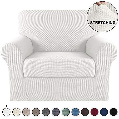 Turquoize Chair Slipcover 2 Pieces Furniture Cover/Protector with Spandex Jacquard Checked Pattern Couch Covers Armchair Slipcover Machine Washable/Skid Resistance Couch Slipcovers (Chair, Ivory)