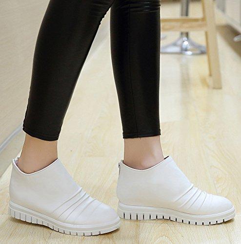Idifu Womens Dressy Platform Mid Wedge Heels High Boots Stivaletti Con Cerniera Bianca