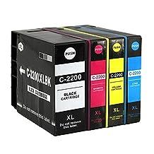 Perseus® Replacement For Canon PGI-2200XL PGI-2200 XL Ink Cartridge Combo Pack(1 Black,1 Cyan,1 Magenta,1 Yellow)High Yield Compatible MAXIFY IB4020 MB5020 MB5320 Printer,PGI-2200XLBK PGI-2200XLC PGI-2200XLM PGI-2200XLY