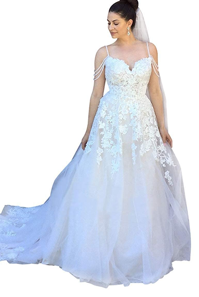 XingMeng Womens Spaghetti A Line Wedding Dress Applique Lace Tulle Bride Bridal Gown