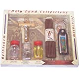 Large Religious Samples set - Top Quality with certificate, Olive wood Crucifix, 33 Candles and a Keys ring (8.5 inches long)