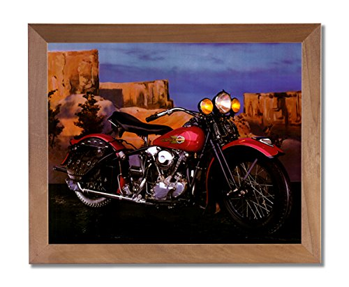 Knucklehead Harley Davidson Motorcycle Wall Picture Honey Framed Art Print
