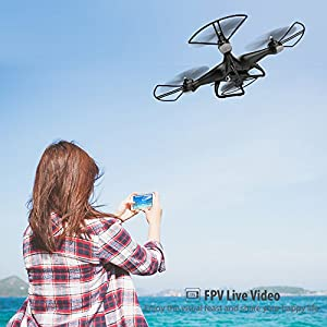 Holy Stone HS110D FPV RC Drone with 720P HD Camera Live Video 120° Wide-angle WiFi Quadcopter with Altitude Hold Headless Mode 3D Flips RTF with 4G TF Card Modular Battery, Color Black from Holy Stone