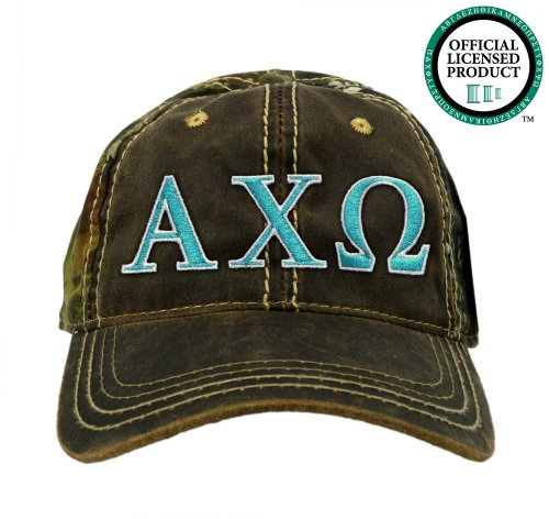 Alpha Chi Omega (AXO) Embroidered Camo Baseball Hat, Various Colors