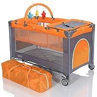 Reisebett 120x60 faltbar Höhenverstellbare Neugeborenen Einlage - Wickelauflage; Grau Orange