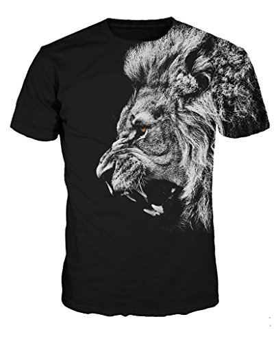 NEWCOSPLAY Colorful 3D Printed Short Sleeve T-Shirt Fashion Couple Tees (L=US M, Roar Lion)