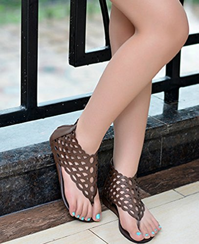 NiSeng Mujer Estilo Étnico Sandalias Verano T-Strap Dedo Del Pie Piso Sandalias Retro Escalas De Pescado Hueco Sandalias Oscuro Marrón