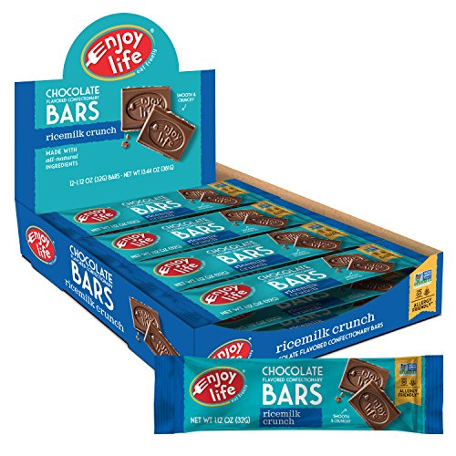 Enjoy Life Chocolate Bars, Soy free, Nut free, Gluten free, Dairy free, Non GMO, Ricemilk Crunch, 1.12 Ounce Bars (Pack of 24)