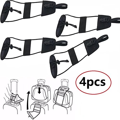 JahyShow 4Pcs Bag Bungee Strap Suitcase Adjustable Belt Carry On Bungee Travel Accessories