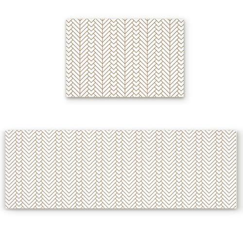 KAROLA 2 Piece Kitchen Mat Non-Slip Doormat Bathroom Runner Rug Set - Chevron Herringbone Geometric Modern Pattern in White 19.7