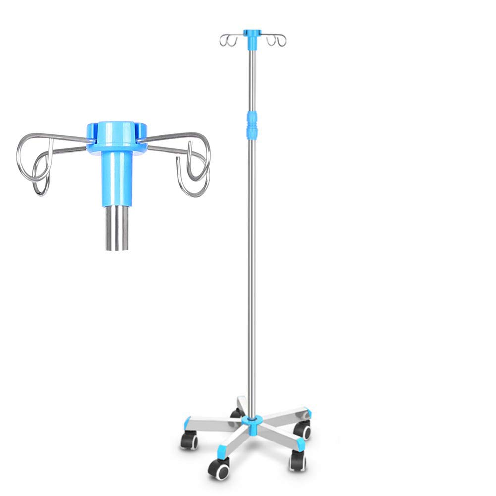 ZZYYZZ Medical Deluxe IV Drip Stand Height Adjustable Stainless Steel Portable with Wheels, Infusion Stand for Clinic or Home,4 Hooks by ZZYYZZ