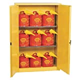 """Eagle 1947SC9 Combo Safety Cabinet for Flammable Liquids, 2 Door Manual Close, 45 Gallon, 65""""Height, 43""""Width, 18""""Depth, Steel, Yellow"""