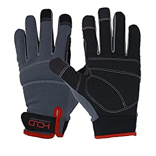 Handlandy Mens Work Gloves Touch screen, Synthetic Leather Utility Gloves, Flexible Breathable Spendex - Padded Knuckles & Palm (Large)