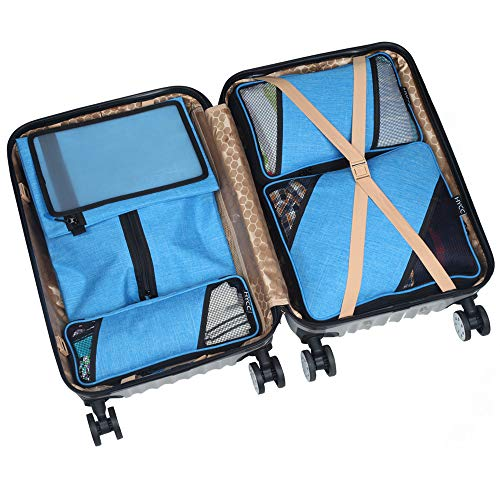 HYCC Compression Packing Cubes - Durable 6 Piece Travel Organizers - Luggage Organizers with Shoe Bag - Blue
