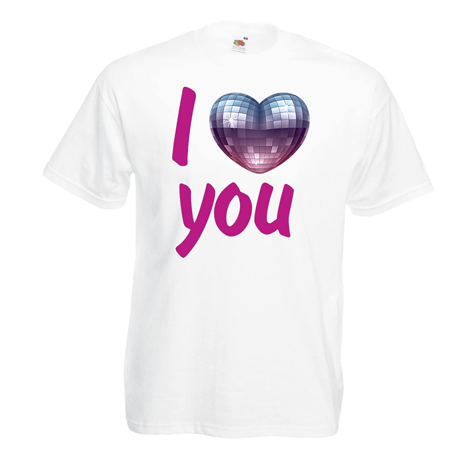 "T shirts for men ""I Love you - disco ball heart"" retro 80s clothing, music shirt, Valentine gifts"
