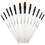 Paint Brushes, Laniakea 12pcs Flat Painting Brush Set for Watercolor, Oil, Acrylic, Crafts, Rock & Face Painting ( White Pen )