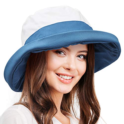 (Tirrinia Bucket Hats for Women | UPF 50+ Sun Protection Cap for Garden, Beach, Travel and Outdoor Blue)