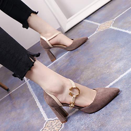 Yukun zapatos de tacón alto Tacones Altos Noche Mujer Negro Otoño Salvaje 10 Cm Gato con Aguja Estilete Señalado, 38, Blanco Gray