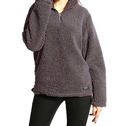 Besooly Women Sweatshirt Winter Shirt Warm Blouse Sweater Zipper Fleece Pullover Long Sleeves Plush Jumpers Cardigan -