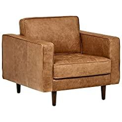 Farmhouse Accent Chairs Amazon Brand – Rivet Aiden Mid-Century Modern Tufted Leather Accent Chair, 35.4″W, Cognac farmhouse accent chairs