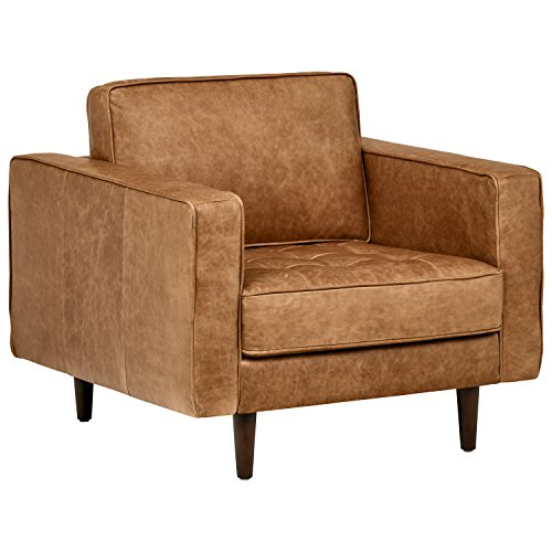 (Rivet Aiden Tufted Mid-Century Modern Leather Accent Chair, 35.4