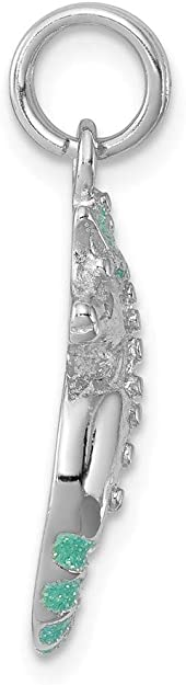 Aqua Green Glitter Seahorse Charm In 925 Sterling Silver 19x10mm