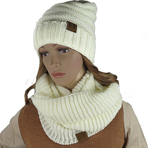 Hat Scarf Wrap Set (Knit Infinity Loop Scarf And Beanie Hat Set, Warm For The Winter Cream By Debra Weitzner)
