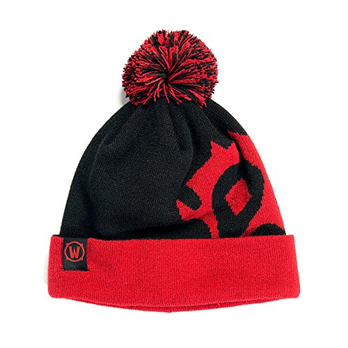 JINX World of Warcraft Horde Knit Pom Knit Beanie, Black/Red, One Size