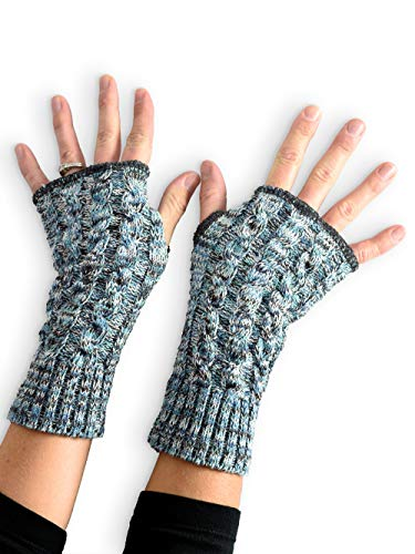 Green 3 Women's Recycled Cotton Teal Space Dye Hand Warmer Fingerless Gloves (Teal) Made in USA (One Size)