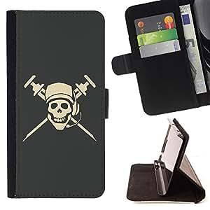Jordan Colourful Shop - cool pirate skull dj microphone cap For Apple Iphone 6 - < Leather Case Absorci????n cubierta de la caja de alto impacto > -