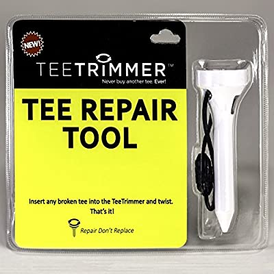 TeeTrimmer Tee Repair Tool, Best Sharpener for Broken Wood & Plastic Golf Tees; Includes Detachable Cord for Golf Bag - Great New Accessory Gift & Holiday Stocking Stuffer for Golfers
