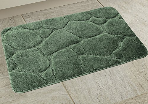 BH Home & Linen 1 Piece Ultra Plush River Rock Design Bath Rug Set.24 Inch W x 39