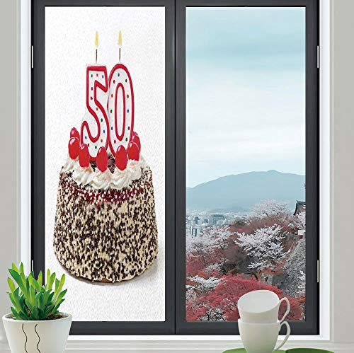 YOLIYANA The Visual Effect of Textured Glass and Stained Glass,50th Birthday Decorations,is Good for Long Year Under The Sunshine,Cream Cake with Cherries Burning Candles Chocolaty Yummy,24''x70'' ()