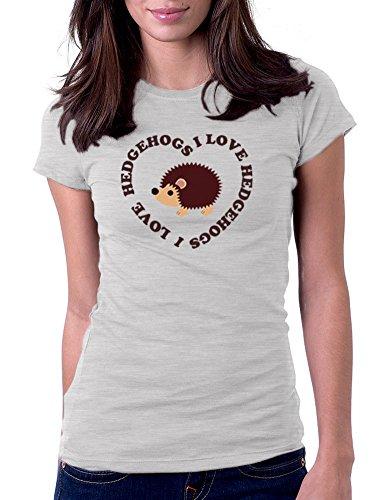 I Love Hedgehogs - Womens Tee T-Shirt, Large, Heather