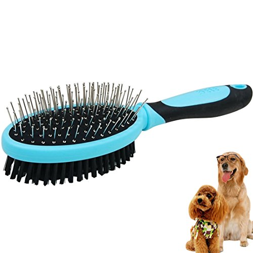 YOMYM Dog Hair Brush 2 In 1 Pin & Bristle Brush for Dog and Cat, Dog Brush and Dog Hair Remover Brush, Dog Pin Brush, Cat Hair Remover and Cat Brush, Pet Hair remove and Pet Brush, Dog Bath Brush Blue