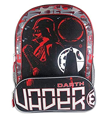 """Star Wars Classic 16"""" Darth Vader School Backpack with Two Side Mesh Pockets"""