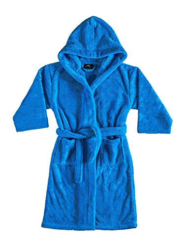 Bagno Milano Boys Robe,Kids Plush Hooded Bathrobe,Made in Turkey (12, Blue)