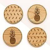 Pineapple Laser Cut Wood Coasters (Set of 4 / Housewarming Gift / Tabletop / Barware)