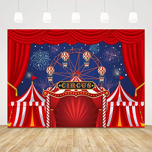 Baby Shower Circus Theme (Big Top Circus Backdrops for Party Carnival Photography Background 7x5ft Fireworks Ferris Wheel Carousel Backdrop Kids Party Backdrop Birthday Boy Girl Circus Theme Party Supplies Baby Shower)