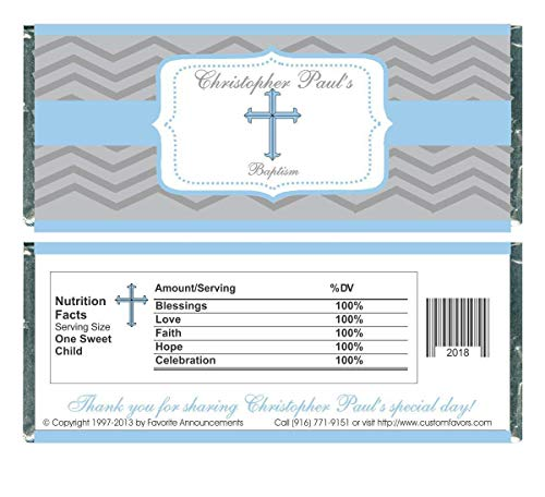 - Baptism Chevron Stripes Candy Bar Wrappers, Personalized (Set of 12)(W719)
