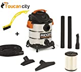 RIDGID 10 Gal. 6.0 Peak HP Stainless Wet Dry Vacuum WD1060 Vac + Toucan City Tile and Grout Brush