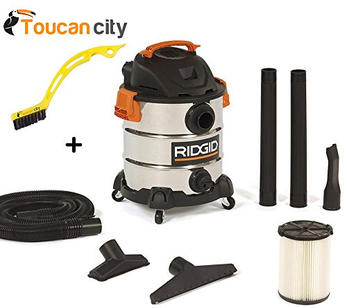 RIDGID 10 Gal. 6.0 Peak HP Stainless Wet Dry Vacuum WD1060 Vac + Toucan City Tile and Grout Brush by Ridgid + Toucan City (Image #9)