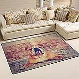 WOZO Bulldog Brick Wall Dog Area Rug Rugs Non-Slip Floor Mat Doormats Living Room Bedroom 60 x 39 inches