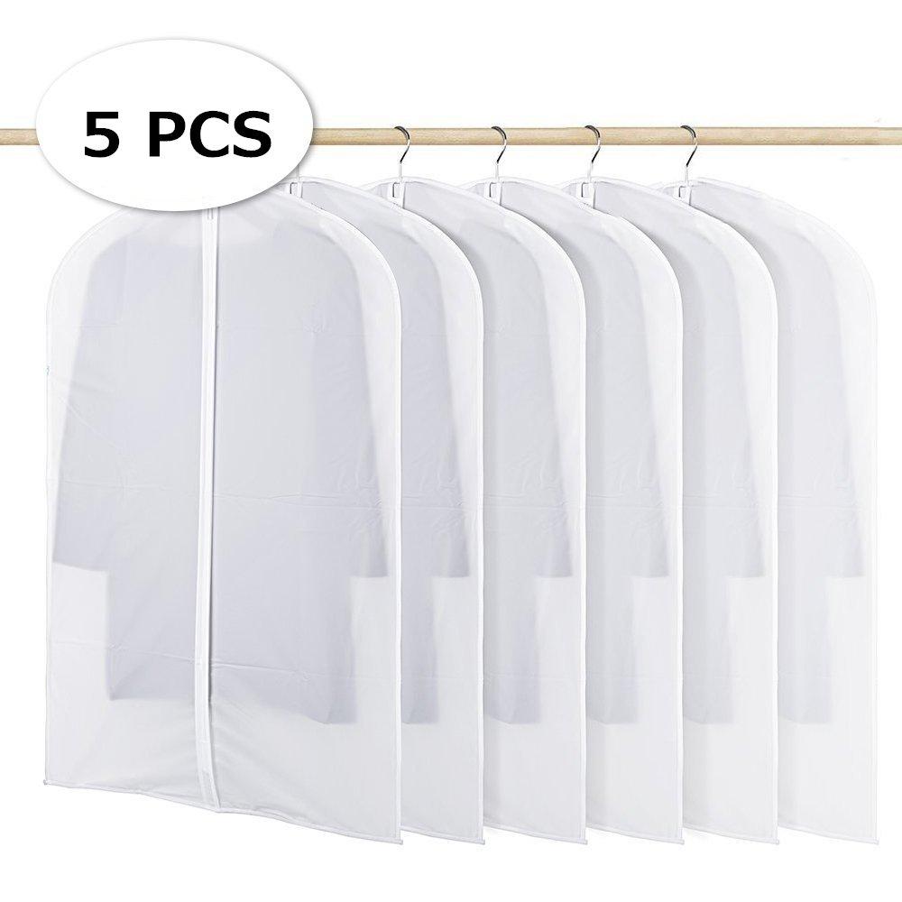 transparente Milopon 5/x Bolsas de ropa ropa ropa almacenaje bolso bolsillos resistente al agua Ver polvo Protecci/ón Transparente en la ropa protectora con cremallera S(60x80cm)
